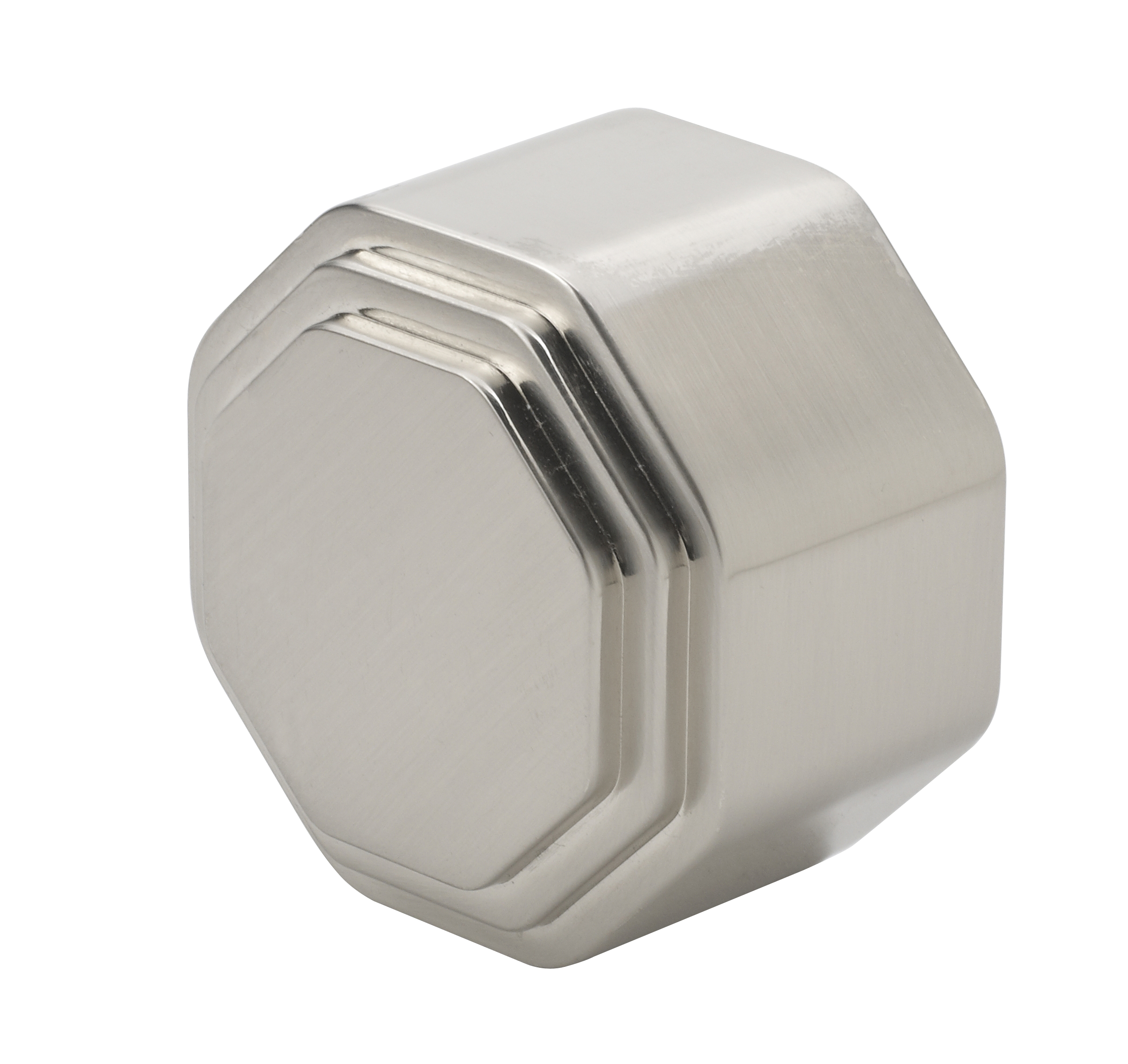 2 Octagonal Brushed Nickel End Cap